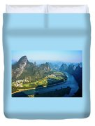 Karst Mountains And Lijiang River Scenery Duvet Cover