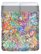 London England Street Map Duvet Cover