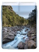 Slow Shutter Photo Of Figarella River At Bonifatu In Corsica Duvet Cover