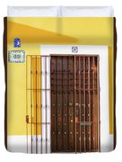 Wooden Door In Old San Juan, Puerto Rico Duvet Cover