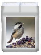 Black Capped Chickadee Duvet Cover