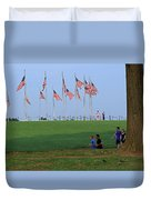 17 Flags 7 People 1 Tree Trunk Duvet Cover