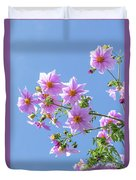Fully Bloomed Pink Dahlia Imperialis At Garden In November Duvet Cover