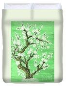 White Tree In Blossom, Painting Duvet Cover