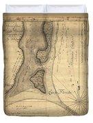 1765 Florida Coast Map Duvet Cover