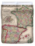 1800s France, Spain And Portugal County Map Color Duvet Cover