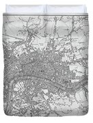 1800s London Map Black And White London England Duvet Cover