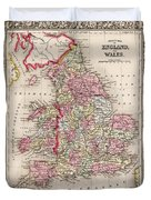 1800s Wales County Map Wales England Color Duvet Cover