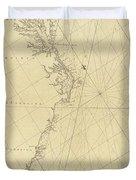1807 North America Coastline Map Duvet Cover
