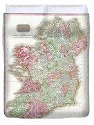 1818 Pinkerton Map Of Ireland Duvet Cover