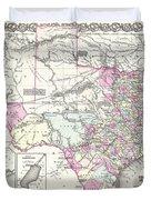 1855 Texas Map Duvet Cover