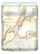 1857 Coast Survey Map Of New York City And Harbor Duvet Cover