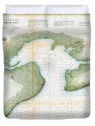 1857  Coast Survey Map Of St. Louis Bay And Shieldsboro Harbor, Mississippi  Duvet Cover