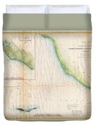1857  Coast Survey Map Of The Eastern Entrance To Santa Barbara Channel Duvet Cover