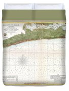 1857 U.s. Coast Survey Map Or Chart Of Mississippi City Harbor, Mississippi Duvet Cover