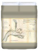 1857 U.s. Coast Survey Map Or Chart Of The Mouth Of St. Johns River, Florida Duvet Cover