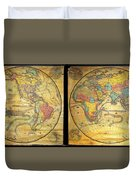 1858 Set Of Two Pelton Wall Maps, Western Hemisphere And Eastern Hemisphere  Duvet Cover