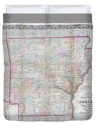 1859 Colton Pocket Map Of Arkansas  Duvet Cover