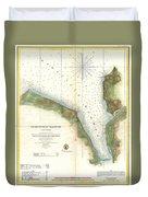 1859 U.s. Coast Survey Chart Or Map Of Hempstead Harbor, Long Island, New York  Duvet Cover
