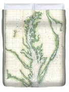 1859 U.s. Coast Survey Chart Or Map Of The Chesapeake Bay Duvet Cover