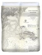 1859 U.s. Coast Survey Map Of Lynn Harbor, Massachusetts Duvet Cover