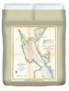 1865 Us Coast Survey Map Or Chart Of Providence Rhode Island Duvet Cover