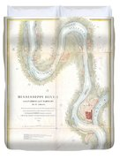 1865 Uscs Map Of The Mississippi River From Cairo Illinois To St Marys Missouri  Duvet Cover