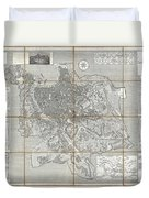 1866 Fornari Pocket Map Or Case Map Of Rome Italy Duvet Cover