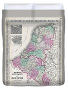 1866 Johnson Map Of Holland And Belgium Duvet Cover