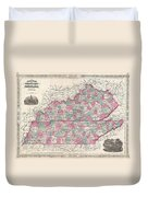 1866 Johnson Map Of Kentucky And Tennessee  Duvet Cover