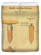 1868 Base For Baseball Players Patent In Sepia Duvet Cover