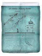 1868 Fishing Tackle Patent Blue Duvet Cover