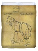 1868 Horse Harness Patent Duvet Cover