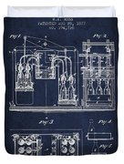 1877 Bottling Machine Patent - Navy Blue Duvet Cover