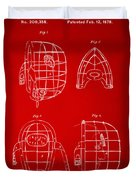 1878 Baseball Catchers Mask Patent - Red Duvet Cover
