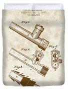 1885 Fire Escape Patent - Vintage Brown Duvet Cover