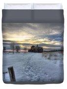 1888 Barn In Winter 01 Duvet Cover