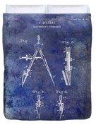 1888 Draftsmans Compass Patent Blue Duvet Cover