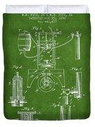 1890 Bottling Machine Patent - Green Duvet Cover