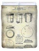 1892 Bottle Cap Patent  Duvet Cover
