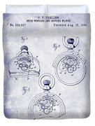 1893 Pocket Watch Patent Blueprint Duvet Cover