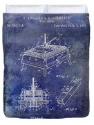 1894 Wine Press Patent Blue Duvet Cover
