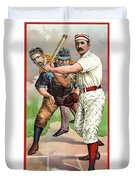 1895 In The Batters Box Duvet Cover by Daniel Hagerman