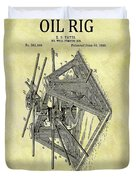 1896 Oil Rig Illustration Duvet Cover