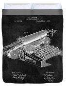 1896 Typewriter Patent Illustration Duvet Cover