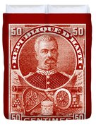 1898 President Of Haiti Stamp Duvet Cover