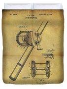 1899 Fishing Reel Patent Duvet Cover