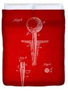 1899 Golf Tee Patent Artwork Red Duvet Cover