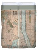 1899 Home Life Map Of New York City  Manhattan And The Bronx  Duvet Cover