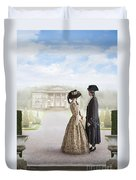 18th Century Georgian  Couple Looking Towards A Country Estate Duvet Cover